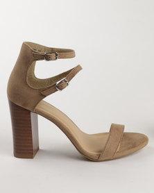 New Look Suedette Two Strap Block Heel Pistachio
