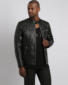 Issa Leo Billy-J Sport Leather Jacket Black