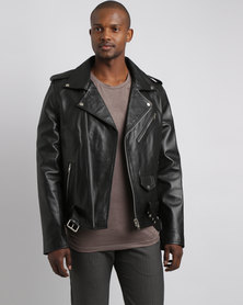 Issa Leo Leather Biker Jacket Black