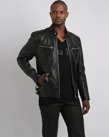 Issa Leo Billy-J Classic Leather Jacket Black