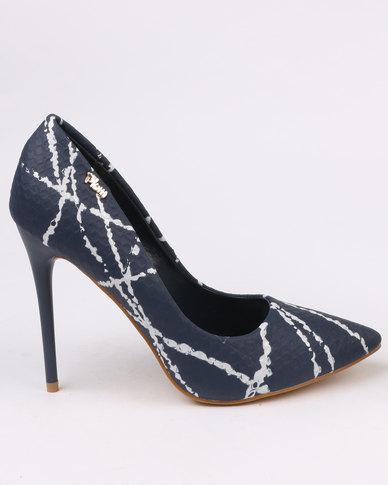 PLUM Sinead Printed High Heel Court Shoe Navy