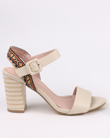 PLUM Saskia Block Heel Sandal With Printed Ankle Strap Nude