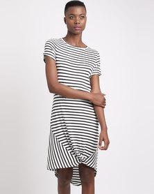 Silent Theory Twisted Tee Stripe Dress Black & White