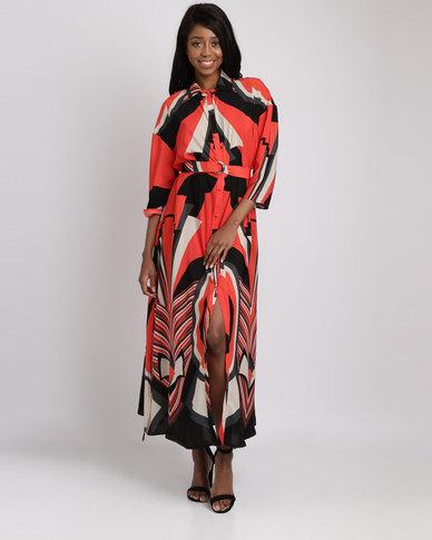 a1f4ca59464d Nucleus Golden Sunset Maxi Dress Orange Print | Zando