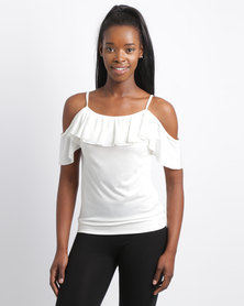 N'Joy Open Shoulder Top With Frill Cream