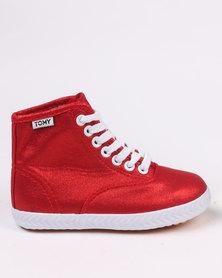 Tomy Takkies Original Metallic Hi Top Sneaker Red