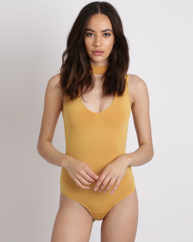 Utopia Knit Cutout Bodysuit Mustard