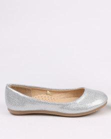 Pretty Feet Girls Shimmer Pumps Silver