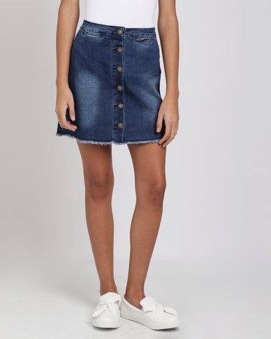 Brave Soul Button Through Denim Skirt Blue