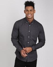 Crosshatch Almond Shirt Black