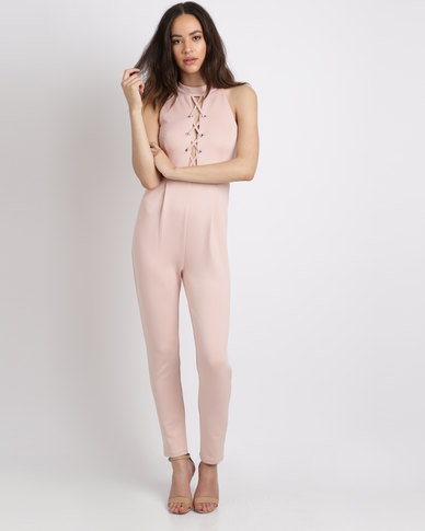 Utopia Eyelet Knit Jumpsuit Blush