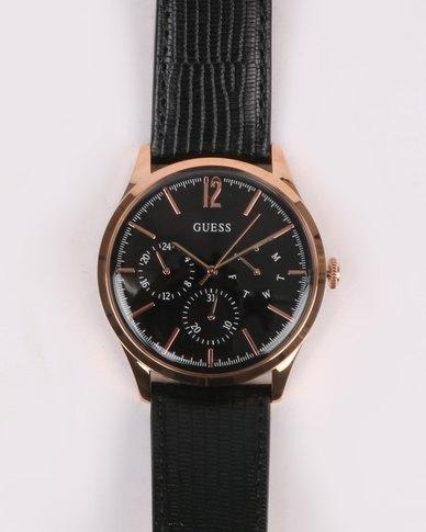 Guess Regent Strap Watch Rose Gold-tone/Black
