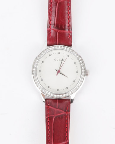 Guess Chelsea Croco Strap Watch Silver and Rosewood