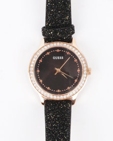 Guess Chelsea Glitter Strap Watch Rose Gold-Tone and Black