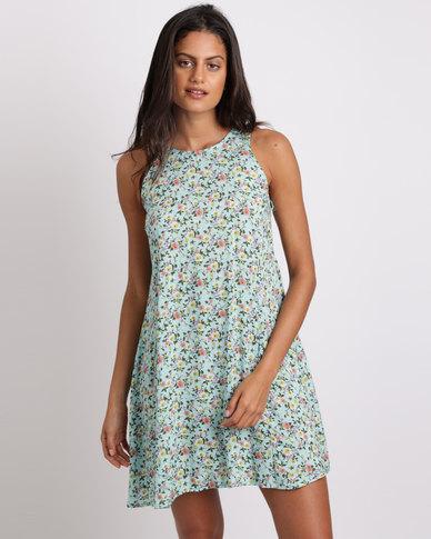 Utopia Ditsy Floral Tunic Dress Seafoam