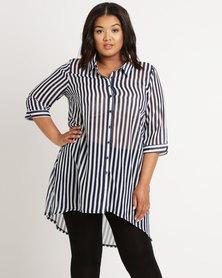 Queenspark Plus Kirstie Striped Woven Shirt Navy