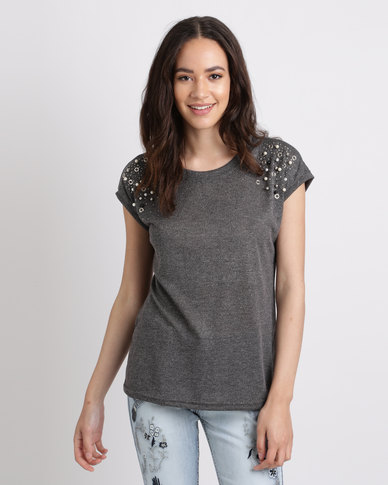 Cath Nic By Queenspark Shimmer and Shine Knit Top Charcoal