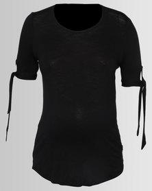 Cherry Melon Slub T-Shirt With Ties Black