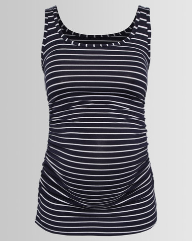 Cherry Melon Tank Top With Side Detail Navy/White Stripe