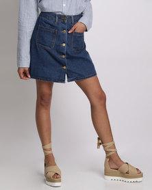Utopia Button-Front Denim Skirt Dark Blue