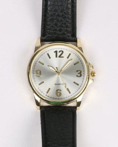 Digitime Classique Gold Watch With Strap Black