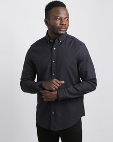 Penguin Long Sleeve Oxford Shirt Dark Sapphire