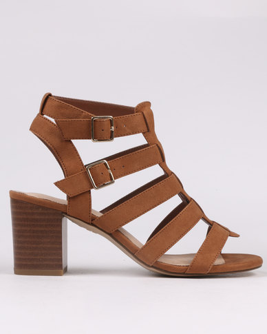 15f434b8e80f New Look Gladiator Block Heels Tan