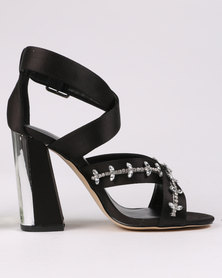 New Look Shift Bling X Strap Sandal Heels Black