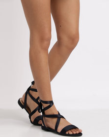 New Look Wide Fit Indulge Ankle Tie Navy