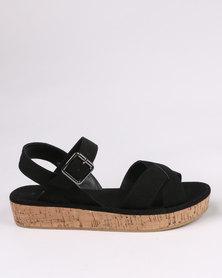 New Look Cork Wedge Sandal Black