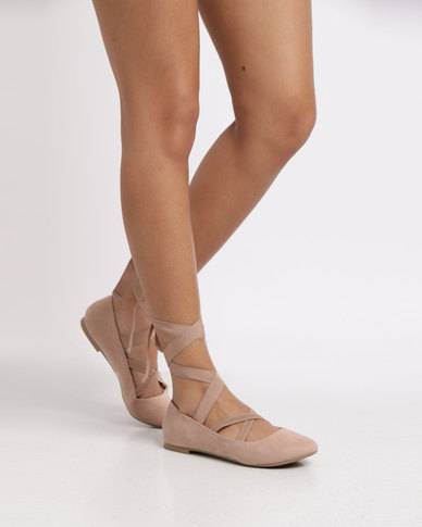 New Look Shell Suedette Ankle Tie Ballet Pumps Pink