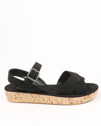 New Look Cork Wedge Sandals Black