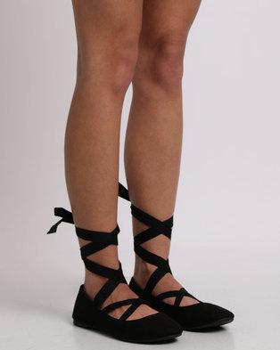 New Look Suedette Ankle Tie Ballet Pump Black