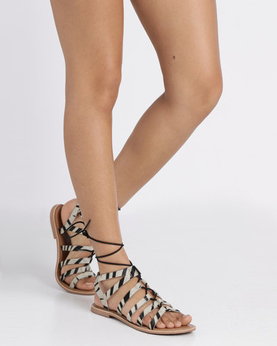 New Look Wide Fit Giraffe Leather Ghillie Sandal White