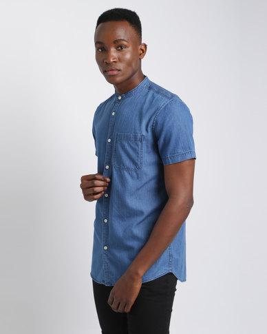 New Look Short Sleeve Denim Shirt Blue