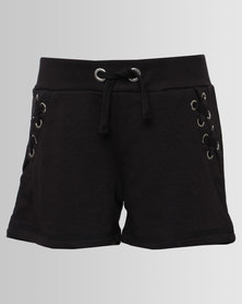 New Look Eyelet Side Tie Shorts Black