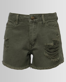 New Look Ripped Denim Shorts Khaki