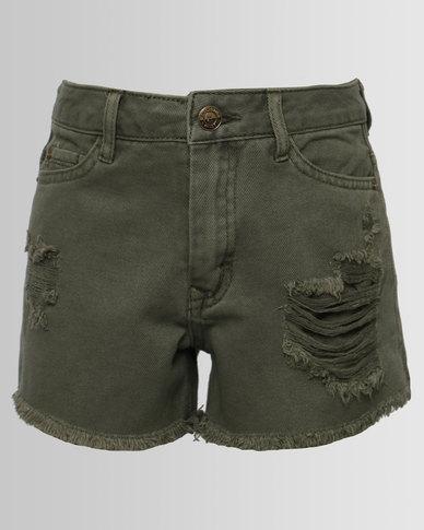 New Look Ripped Denim Shorts Khaki