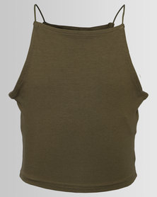 New Look Hi Neck Cami Khaki