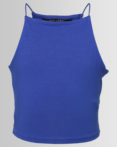 New Look Hi Neck Cami Blue
