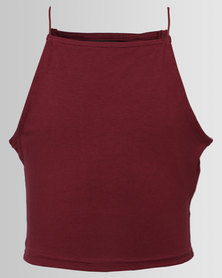 New Look Hi Neck Cami Burgundy