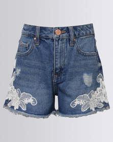 New Look Baywatch Lace Trim Shorts Blue