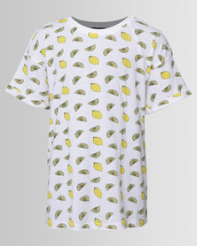 New Look Lemon AOP Crop Tee White