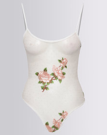 New Look Spot Mesh Floral Embroidered Bodysuit White