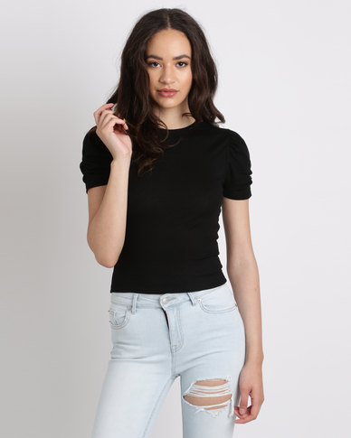New Look Ruched Sleeve T-Shirt Black