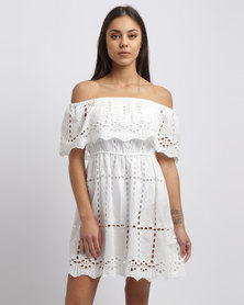 New Look White Cut Out Detail Bardot Dress