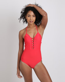 New Look Lace Up Plunge Swimsuit Red