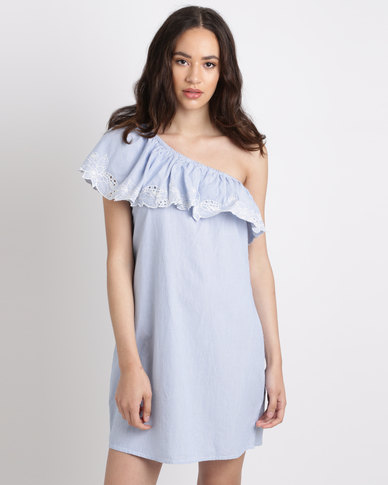 New Look Stripe Crochet Lace Off the Shoulder Dress Blue