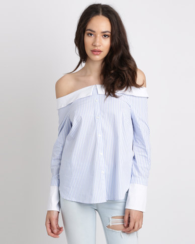 New Look Stripe Bardot Neck Shirt Blue
