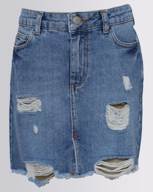 New Look Ripped Denim Skirt Blue